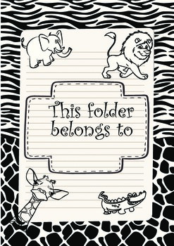 Zoo theme folder cover black and white