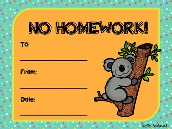 Zoo themed homework passes