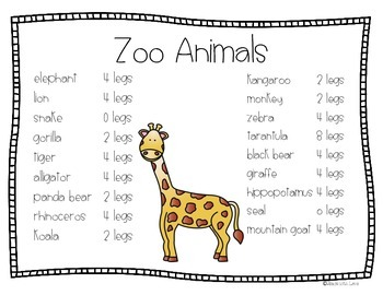 Zoo to You: Math and Literacy Activities