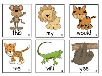 Zoo/Jungle Animals Sight Word Game (Dolch Word Lists 1-11)