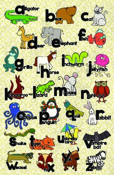 Zoo Animal Phonics Color Poster