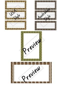 Zoo/Wild animal themed borders and name tags