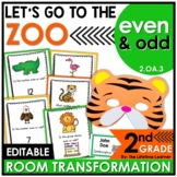 2nd Grade Zoo Math Classroom Transformation | Even and Odd