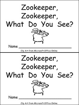Zookeeper What Do You See Emergent Reader Kindergarten