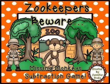 Zookeepers Beware...Missing Monkeys Subtraction Game!  File Folder Game & More!