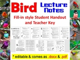 Bird Student Notes Handout and Teacher Key (for Biology& Zoology)