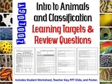 Zoology Intro to Animals and Classification Learning Targe