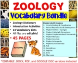 Zoology Vocabulary Lists with Introduction Activities and