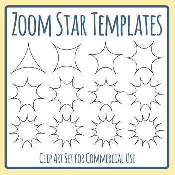 Zoom, Blam, Star or Comic Book Templates Clip Art Set Commercial Use