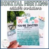 Digital Meeting Invites | Distance Learning | Editable