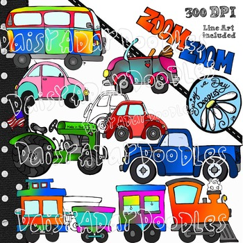 Zoom Zoom Clip Art - Trains, Trucks, Tractors and a Few VW's