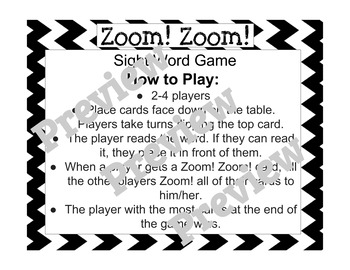 Zoom! Zoom! Dolch Sight Word Game - Black and White