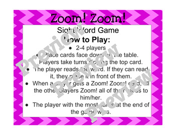 Zoom! Zoom! Dolch Sight Word Game - Pink Cards