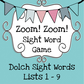 Zoom! Zoom! Dolch Sight Word Game - Turquoise Cards