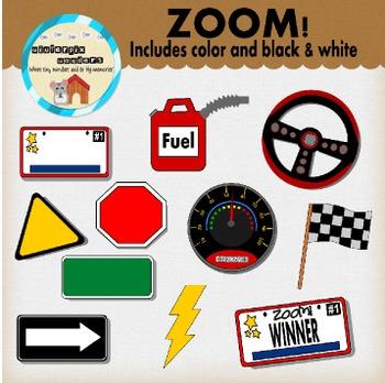 Zoom! - clipart- car- sign- boy- race