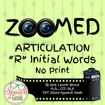 Zoomed Articulation: R Words (No Print)