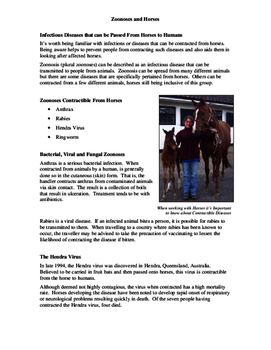 Zoonoses and Horses Fact Sheet