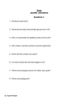 Zoos by Janette Johnstone Reading Comprehension Questions