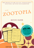 Zootopia (2016) Movie Guide Packet + Activities + Sub Plan