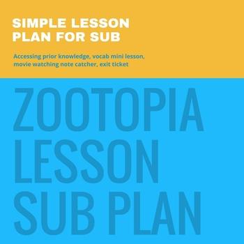 Zootopia Lesson or Sub Plan