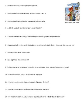Zootopia Movie Guide Questions in Spanish. AP Spanish Las carreras profesionales