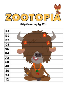 Disney Inspired Zootopia Skip Counting Puzzles - Numbers 2 to 12