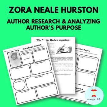 Zora Neale Hurston - Author Study Worksheet, Author's Purpose, Author Research