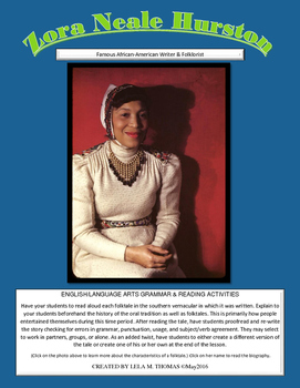 Zora Neale Hurston Folktale Wrtiting & Proofreading Lesson