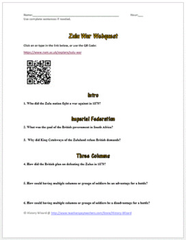Zulu War Webquest (Africa and Imperialism)