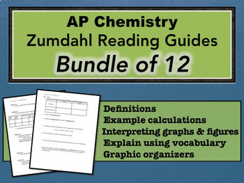 AP Chemistry Zumdahl Reading Guides - Bundle of 12