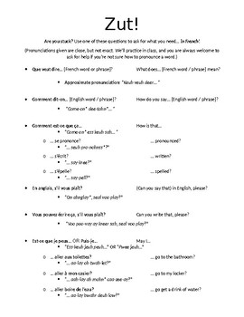 Zut! Questions utiles handout for French students