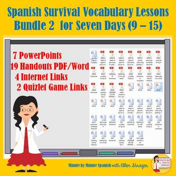 _Spanish Lessons for Survival Vocabulary 90% TL and TCI Bundle 2 - Days 9 - 15