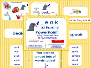 _eak Word Family PowerPoint  for K, 1st or 2nd Reading Phonics(Common Core)