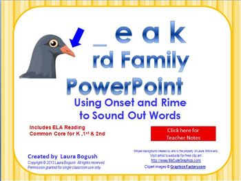 _eak Word Family PowerPoint  for K, 1st or 2nd Reading Pho