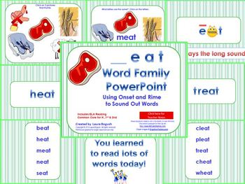 _eat Word Family PowerPoint  for K, 1st or 2nd Reading Phonics(Common Core)