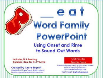 _eat Word Family PowerPoint  for K, 1st or 2nd Reading Pho