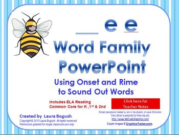 _ee Word Family PowerPoint  for K, 1st or 2nd Reading Phonics(Common Core)
