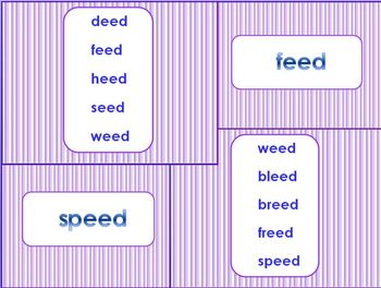 _eed Word Family PowerPoint  for K, 1st or 2nd Reading Phonics(Common Core)