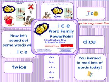 _ice Word Family PowerPoint  for K, 1st or 2nd Reading Phonics(Common Core)
