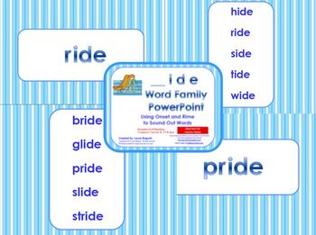 _ide Word Family PowerPoint  for K, 1st or 2nd Reading Phonics(Common Core)