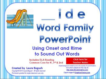_ide Word Family PowerPoint  for K, 1st or 2nd Reading Pho