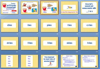 _ies Word Family PowerPoint  for K, 1st or 2nd Reading Phonics/Word Work (CCS)