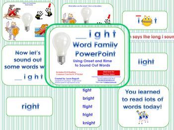 _ight Word Family PowerPoint  for K, 1st or 2nd Reading Phonics(Common Core)