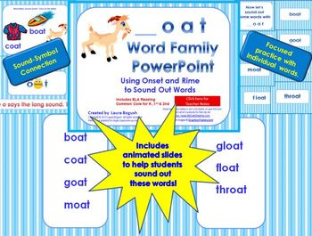 _oat Word Family PowerPoint  for K, 1st or 2nd Reading Phonics/Word Work (CCS)