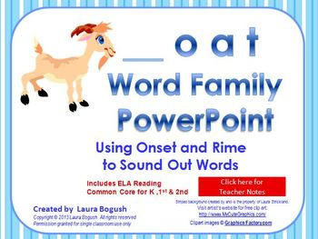 _oat Word Family PowerPoint  for K, 1st or 2nd Reading Pho