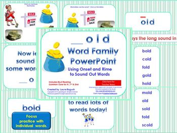 _old Word Family PowerPoint  for K, 1st or 2nd Reading Phonics/Word Work (CCS)