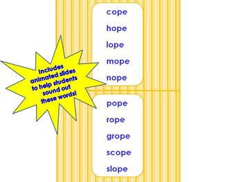 _ope Word Family PowerPoint  for K, 1st or 2nd Reading Phonics/Word Work (CCS)