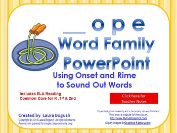 _ope Word Family PowerPoint  for K, 1st or 2nd Reading Pho