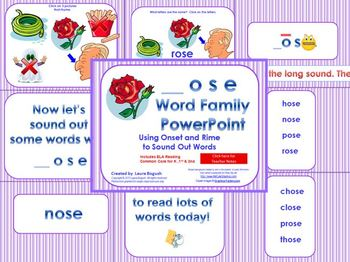 _ose Word Family PowerPoint  for K, 1st or 2nd Reading Phonics/Word Work (CCS)