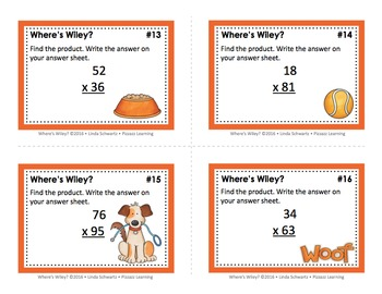 a MULTIPLICATION GAME • WHERE'S WILEY? • GRADES 4–5